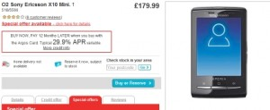 mobile phone deal argos x10 mini