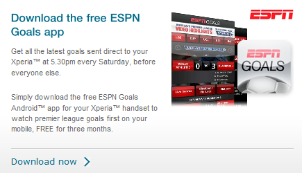 espn goals free xperia deal