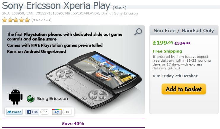 expansys £200 Xperia Play