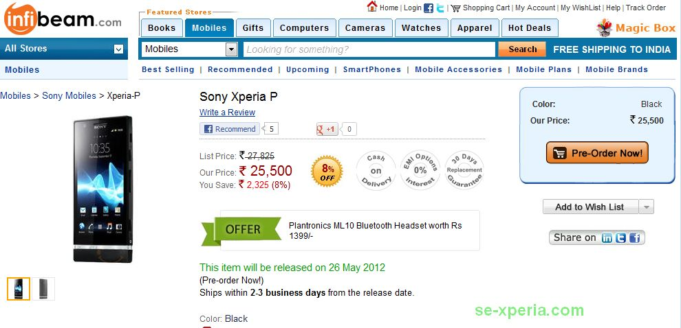 xperia p indian release